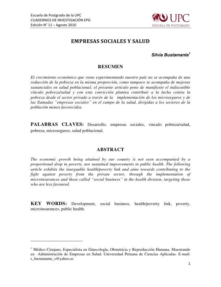 Escuela de Postgrado de la UPC CUADERNOS DE INVESTIGACIÓN EPG Edición N° 11 – Agosto 2010                           EMPRES...