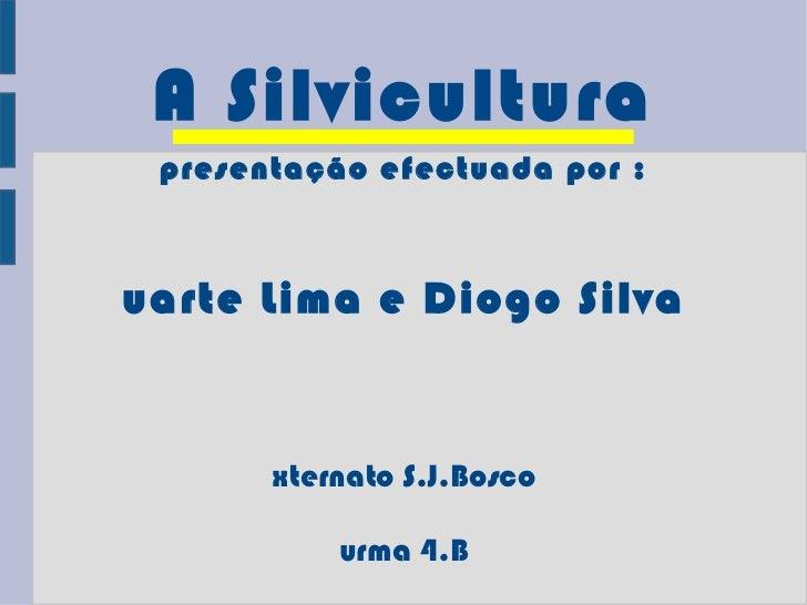 A Silvicultura Apresentação efectuada por : Duarte Lima e Diogo Silva Externato S.J.Bosco Turma 4.B Maio de 2011