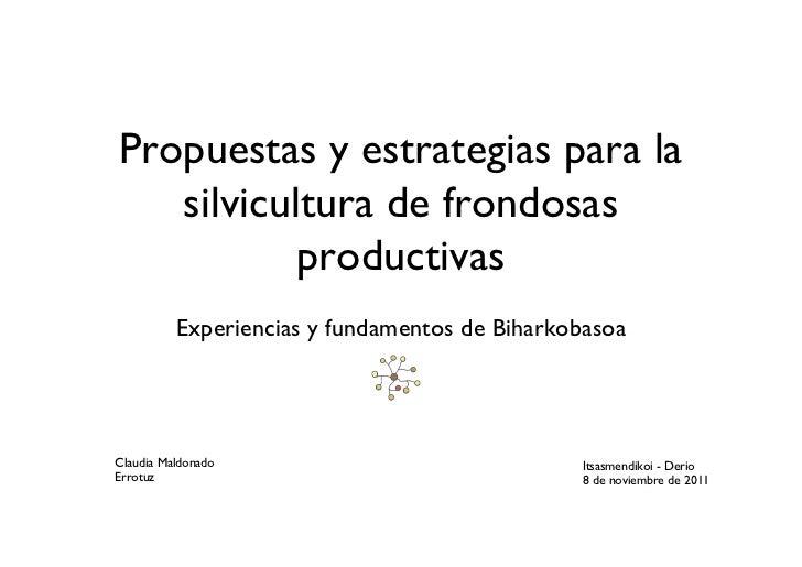 Propuestas y estrategias para la   silvicultura de frondosas           productivas          Experiencias y fundamentos de ...