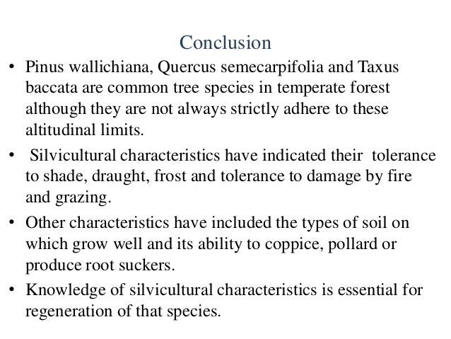 Silvicultural characteristics of three tree species on for Different types of soil and their characteristics