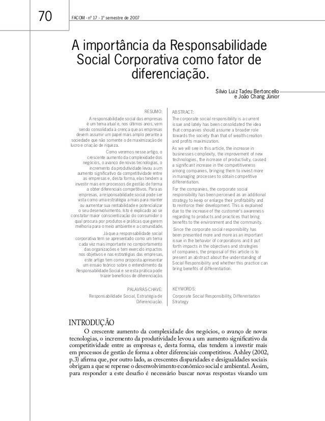 70 FACOM - nº 17 - 1º semestre de 2007  A importância da Responsabilidade  Social Corporativa como fator de  Silvio Luiz T...