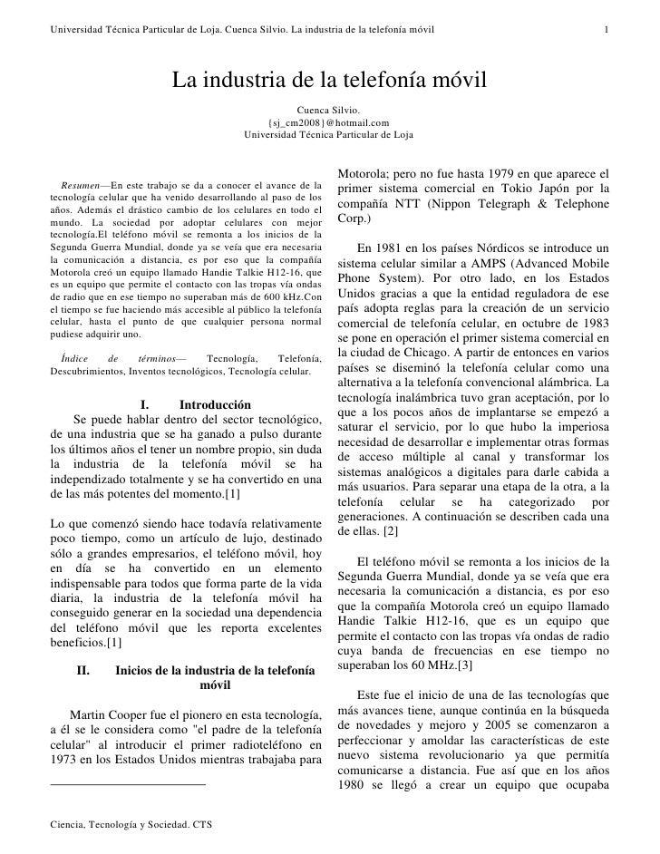 Universidad Técnica Particular de Loja. Cuenca Silvio. La industria de la telefonía móvil                            1    ...