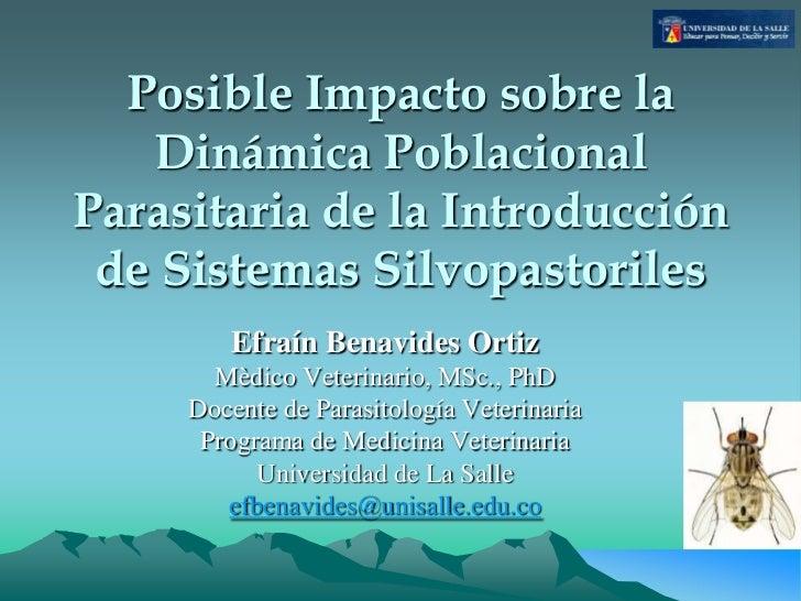 Posible Impacto sobre la   Dinámica PoblacionalParasitaria de la Introducción de Sistemas Silvopastoriles        Efraín Be...