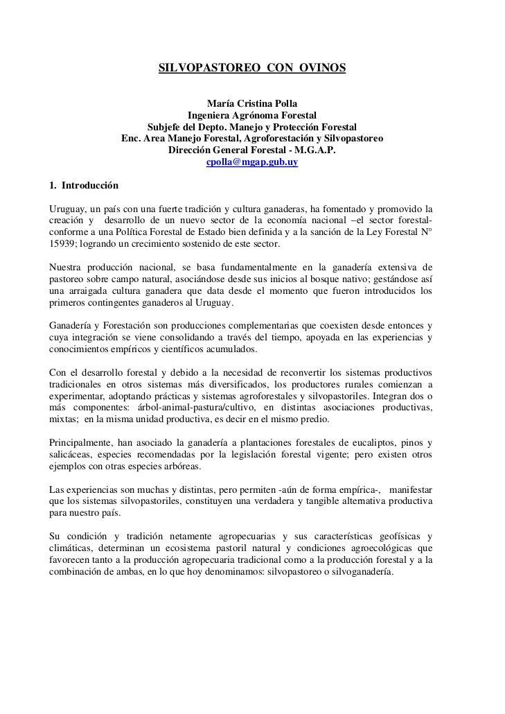 SILVOPASTOREO CON OVINOS                                     María Cristina Polla                                 Ingenier...