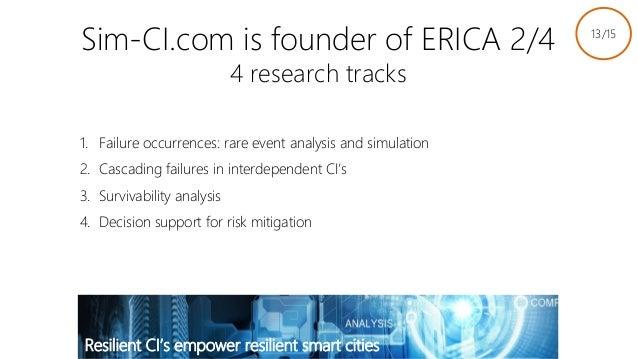 Sim-CI.com is founder of ERICA 2/4 4 research tracks 1. Failure occurrences: rare event analysis and simulation 2. Cascadi...