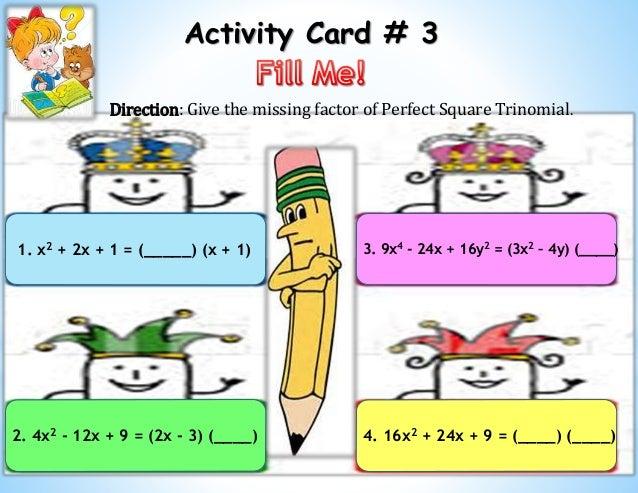 factoring perfect square trinomials