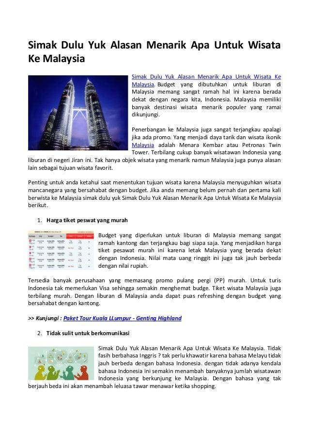 Simak Dulu Yuk Alasan Menarik Apa Untuk Wisata Ke Malaysia