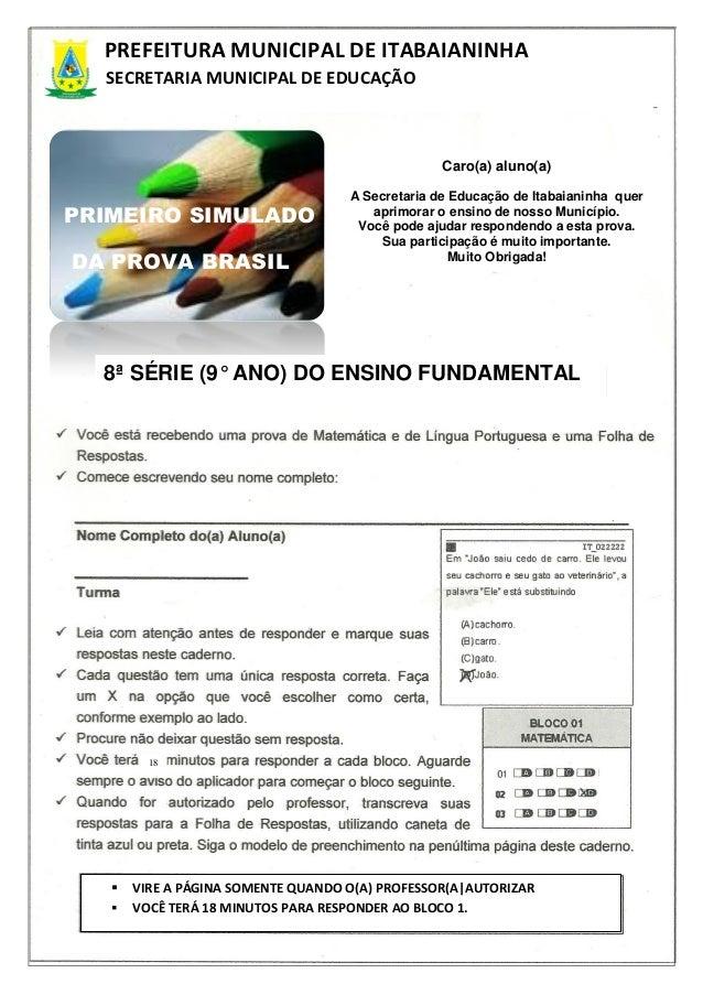 1PREFEITURA MUNICIPAL DE ITABAIANINHASECRETARIA MUNICIPAL DE EDUCAÇÃOCaro(a) aluno(a)A Secretaria de Educação de Itabaiani...