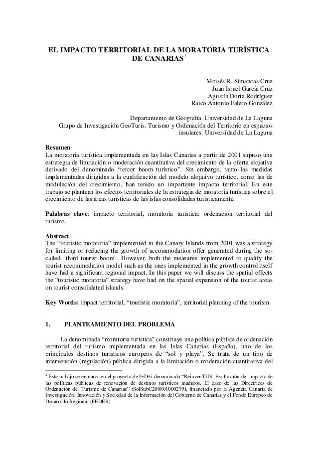 EL IMPACTO TERRITORIAL DE LA MORATORIA TURÍSTICA                      DE CANARIAS1                                        ...