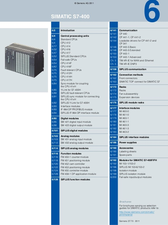 6  © Siemens AG 2011  SIMATIC S7-400 6/2  Introduction  6/4 6/4 6/4 6/17 6/32 6/47 6/52 6/54 6/54 6/62 6/75 6/75 6/75 6/75...