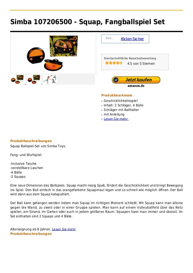 Simba 107206500 - Squap, Fangballspiel Set                                                              Preis :           ...
