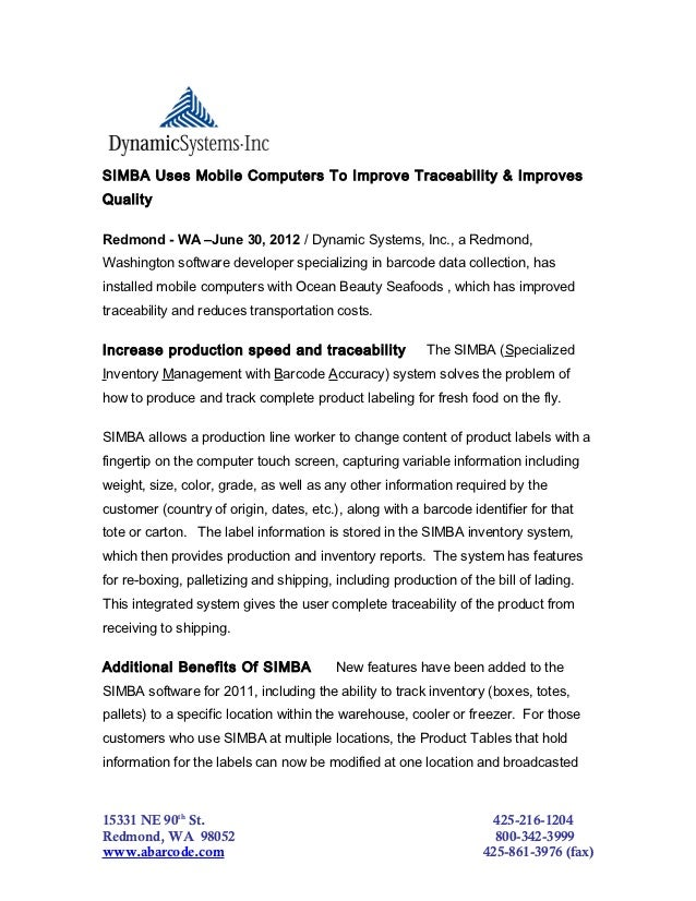 SIMBA Uses Mobile Computers To Improve Traceability & ImprovesQualityRedmond - WA –June 30, 2012 / Dynamic Systems, Inc., ...