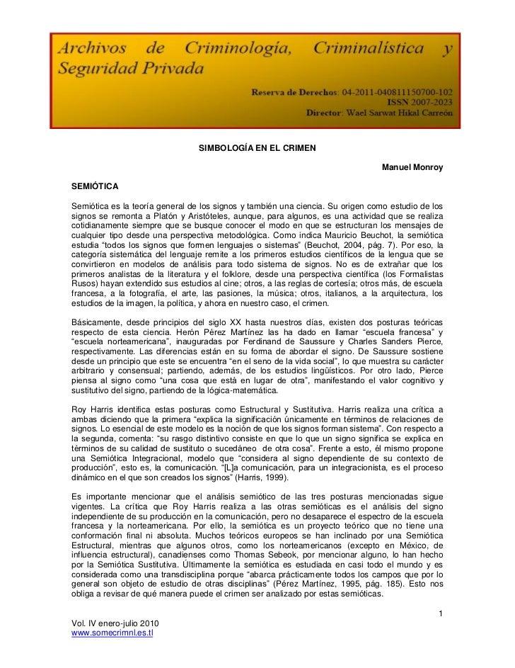 SIMBOLOGÍA EN EL CRIMEN                                                                                    Manuel MonroySE...