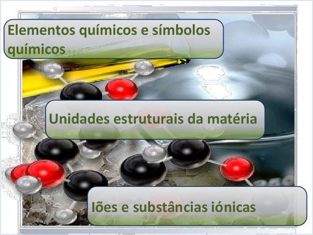 Representação de reações 8º ano Iões e substâncias iónicas Unidades estruturais da matéria Elementos químicos e símbolos q...