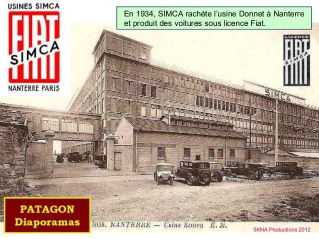 En 1934, SIMCA rachète l'usine Donnet à Nanterreet produit des voitures sous licence Fiat.                                ...