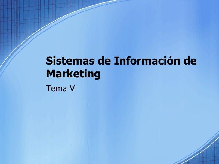 Sistemas de Información de Marketing Tema V