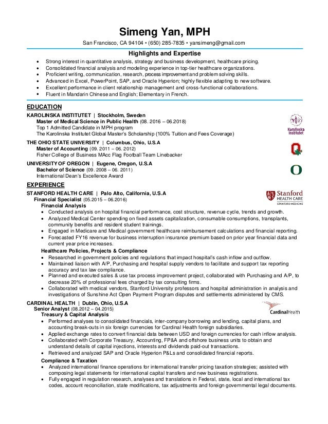 Simeng Yan Resume, Strategy and Business Development, MPH, Pricing