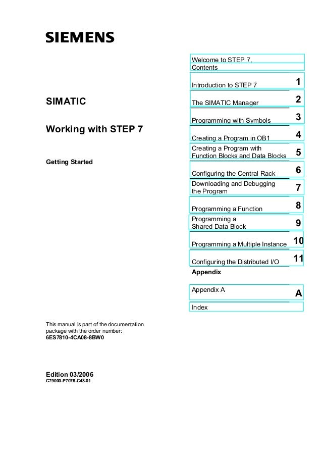 sWelcome to STEP 7,ContentsIntroduction to STEP 7 1The SIMATIC Manager 2SIMATICProgramming with Symbols 3Working with STEP...