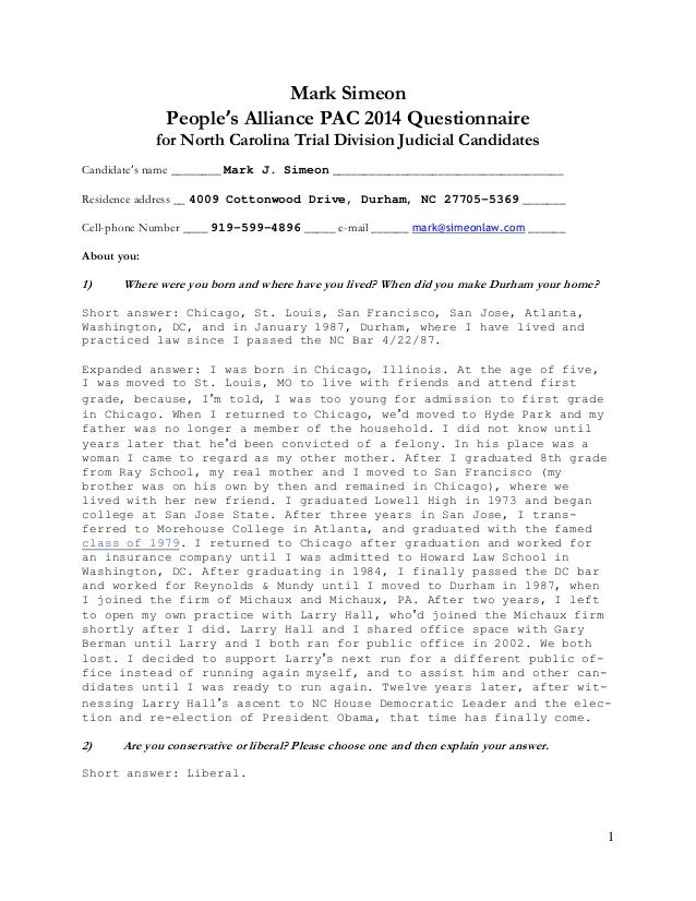 1 Mark Simeon People's Alliance PAC 2014 Questionnaire for North Carolina Trial Division Judicial Candidates Candidate's n...