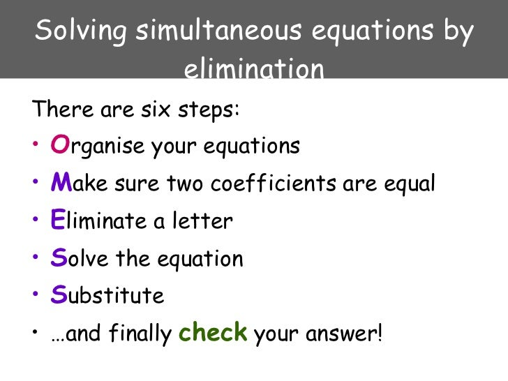 simultaneous equations Solving simultaneous equations and matrices the following represents a systematic investigation for the steps used to solve two simultaneous.