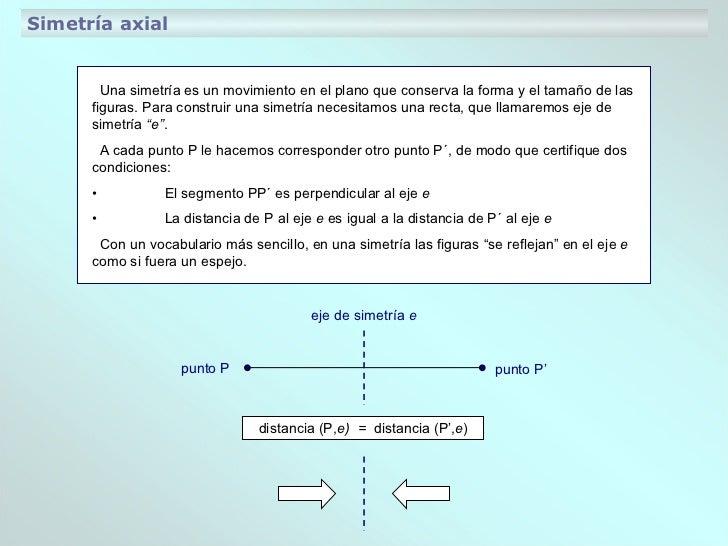Simetría axial Una simetría es un movimiento en el plano que conserva la forma y el tamaño de las figuras. Para construir ...