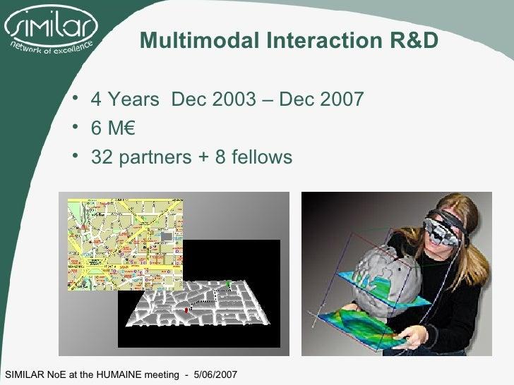 Multimodal Interaction R&D <ul><li>4 Years  Dec 2003 – Dec 2007 </li></ul><ul><li>6 M€ </li></ul><ul><li>32 partners + 8 f...