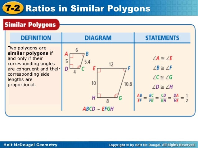 7-2 problem solving ratios in similar polygons answers