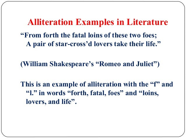 alliteration examples in literature
