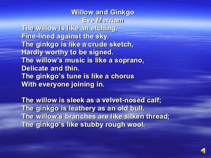 willow and ginkgo by eve merriam