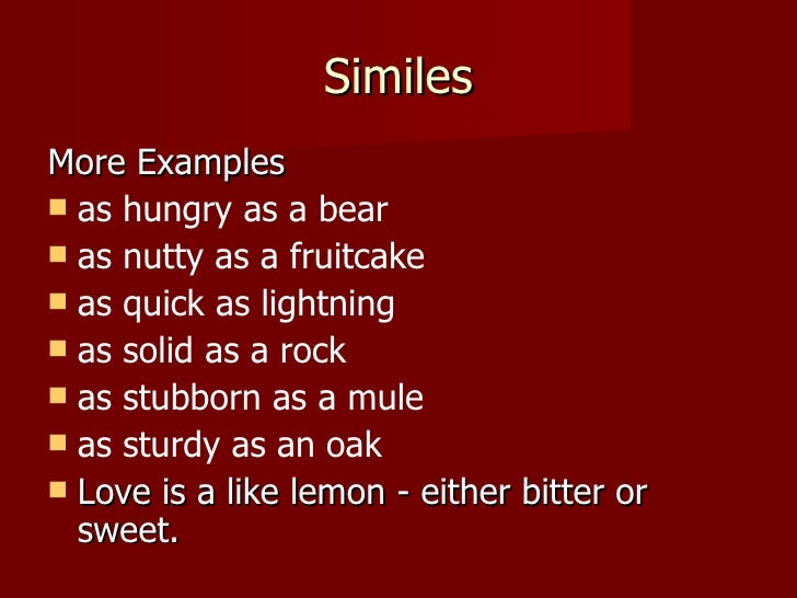 Similes And Metaphors 2012