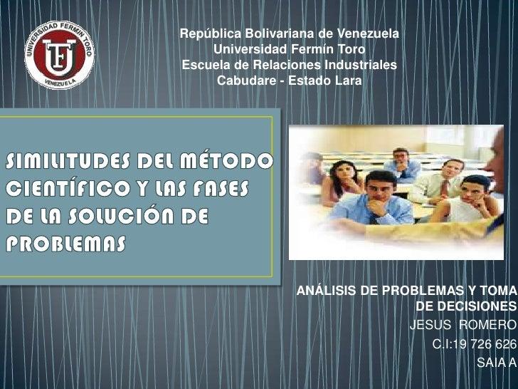 República Bolivariana de Venezuela    Universidad Fermín ToroEscuela de Relaciones Industriales     Cabudare - Estado Lara...