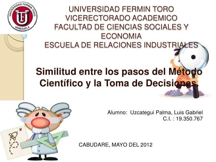 UNIVERSIDAD FERMIN TORO     VICERECTORADO ACADEMICO   FACULTAD DE CIENCIAS SOCIALES Y             ECONOMIA ESCUELA DE RELA...
