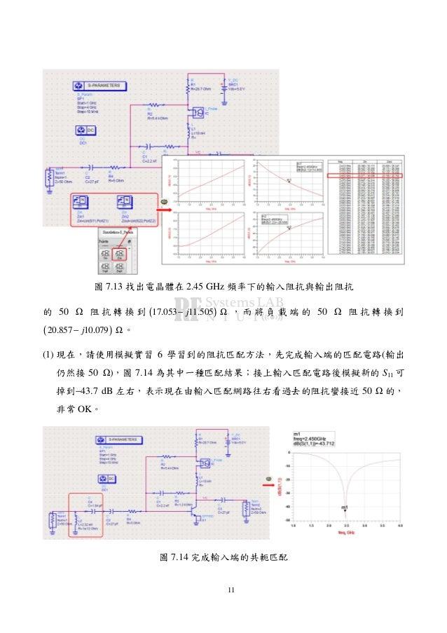 11 圖 7.13 找出電晶體在 2.45 GHz 頻率下的輸入阻抗與輸出阻抗 的 50 阻 抗 轉 換 到 ( )17.053 11.505j− Ω , 而 將 負 載 端 的 50 阻 抗 轉 換 到 ( )20.857 10.079j− ...