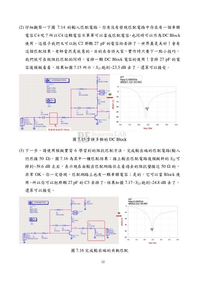 12 (2) 仔細觀察一下圖 7.14 的輸入匹配電路,你有沒有發現匹配電路中存在有一個串聯 電容 C4 呢?所以 C4 這顆電容不單單可以當成匹配電容,也同時可以作為 DC Block 使用,這樣子我們又可以把 C2 那顆 27 pF 的電容...