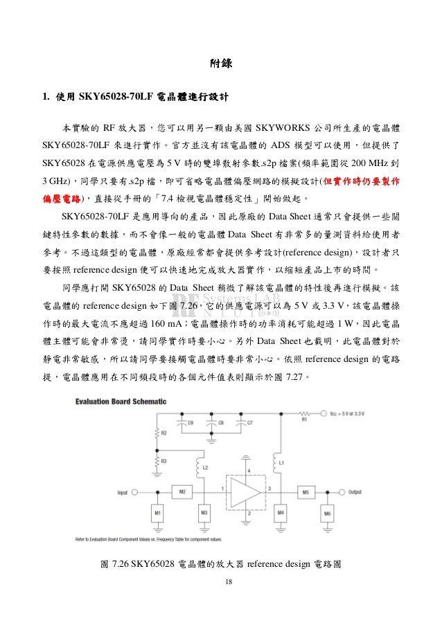 18 附錄附錄附錄附錄 1. 使用使用使用使用 SKY65028-70LF 電晶體進行設計電晶體進行設計電晶體進行設計電晶體進行設計 本實驗的 RF 放大器,您可以用另一顆由美國 SKYWORKS 公司所生產的電晶體 SKY65028-70LF...