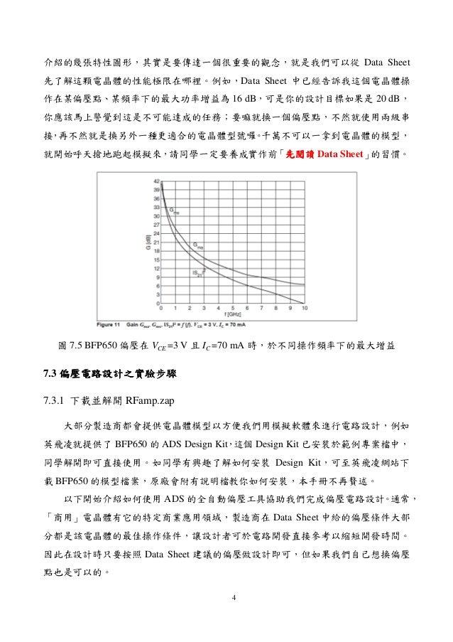 4 介紹的幾張特性圖形,其實是要傳達一個很重要的觀念,就是我們可以從 Data Sheet 先了解這顆電晶體的性能極限在哪裡。例如,Data Sheet 中已經告訴我這個電晶體操 作在某偏壓點、某頻率下的最大功率增益為 16 dB,可是你的設計...