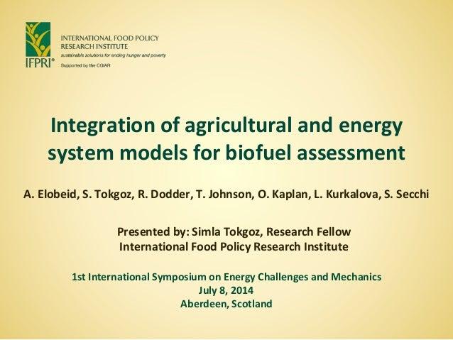 Integration of agricultural and energy system models for biofuel assessment A. Elobeid, S. Tokgoz, R. Dodder, T. Johnson, ...