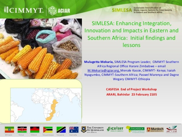 SIMLESA: Enhancing Integration, Innovation and Impacts in Eastern and Southern Africa: Initial findings and lessons Muluge...