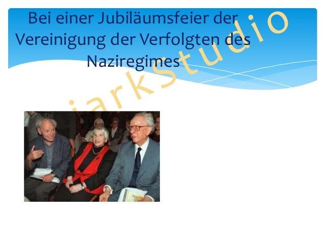Bei einer Jubiläumsfeier der Vereinigung der Verfolgten des Naziregimes