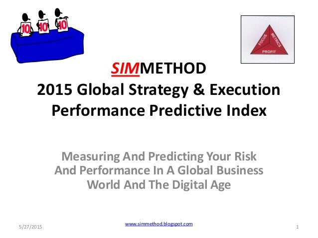 SIMMETHOD 2015 Global Strategy & Execution Performance Predictive Index Measuring And Predicting Your Risk And Performance...
