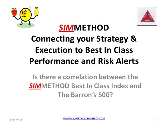 SIMMETHOD Connecting your Strategy & Execution to Best In Class Performance and Risk Alerts Is there a correlation between...