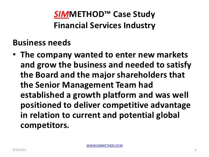 Simmethod financial services case study