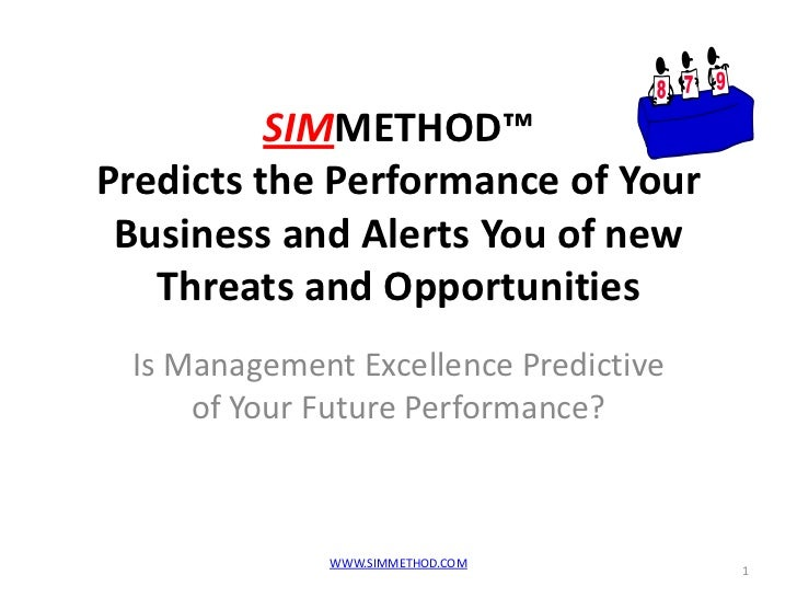 SIMMETHOD™Predicts the Performance of Your Business and Alerts You of new   Threats and Opportunities Is Management Excell...