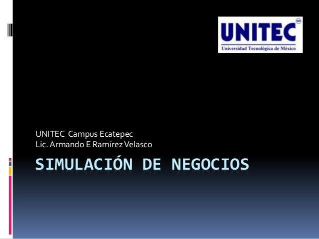 UNITEC Campus Ecatepec Lic. Armando E Ramírez Velasco  SIMULACIÓN DE NEGOCIOS