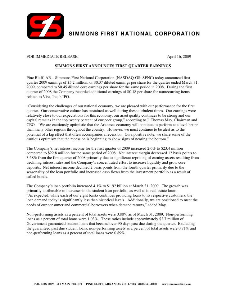 SIMMONS FIRST NATIONAL CORPORATION   FOR IMMEDIATE RELEASE:                                                               ...