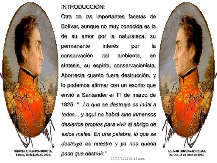 INTRODUCCIÓN:                                Otra de las importantes facetas de                                Bolívar, au...