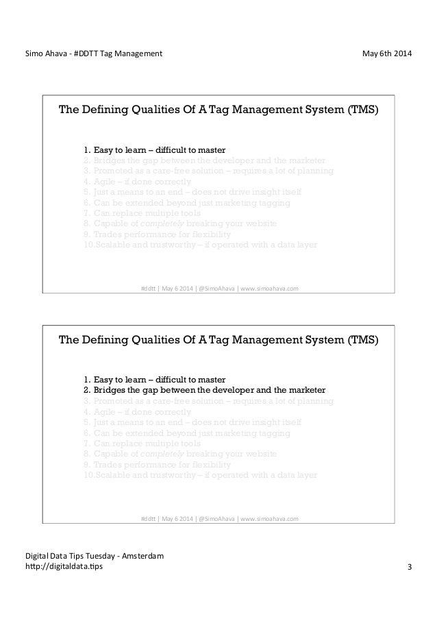 Digital Data Tips Tuesday #1 - Tag Management: Simo Ahava - NetBooster Slide 3