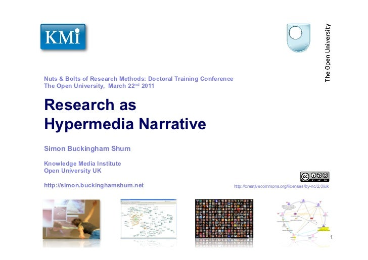 Nuts & Bolts of Research Methods: Doctoral Training ConferenceThe Open University, March 22nd 2011Research asHypermedia Na...