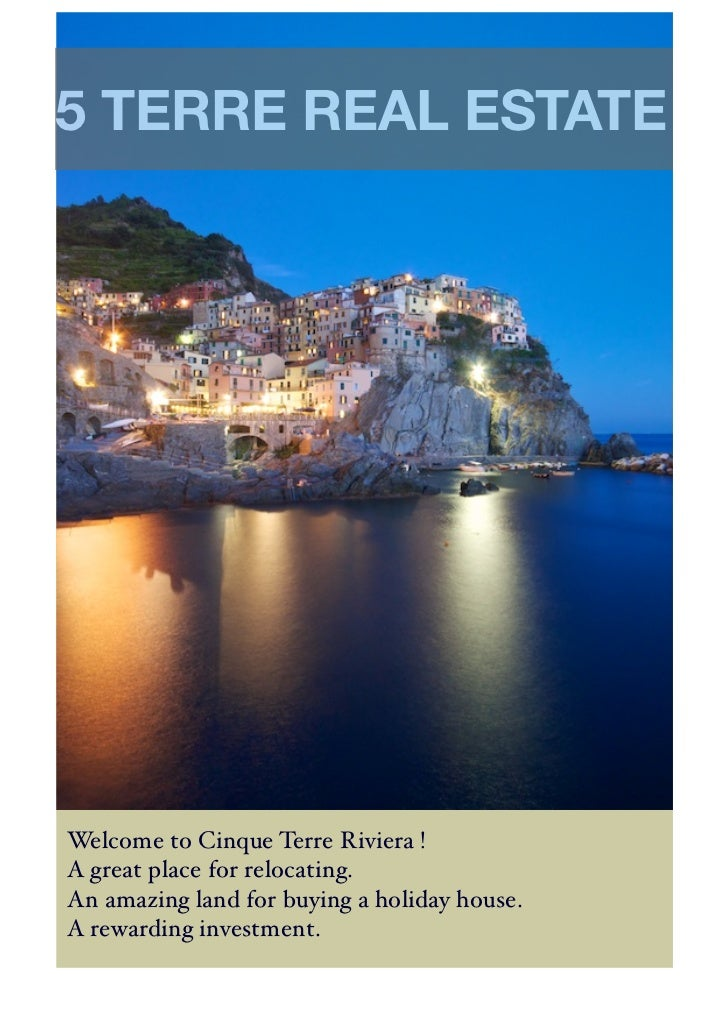5 TERRE REAL ESTATEWelcome to Cinque Terre Riviera !A great place for relocating.An amazing land for buying a holiday hous...