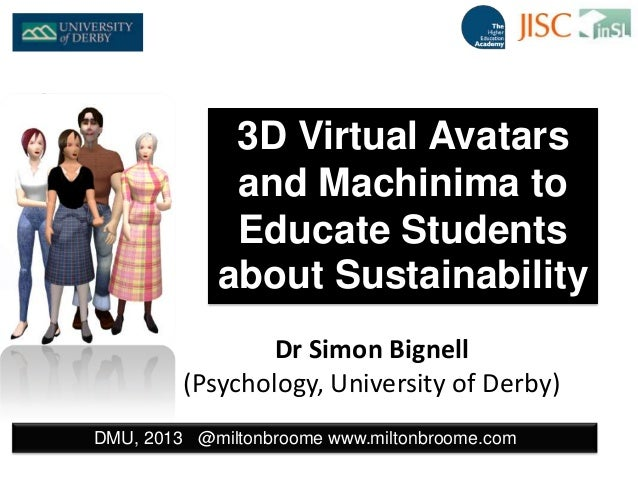 Dr Simon Bignell (Psychology, University of Derby) DMU, 2013 @miltonbroome www.miltonbroome.com 3D Virtual Avatars and Mac...
